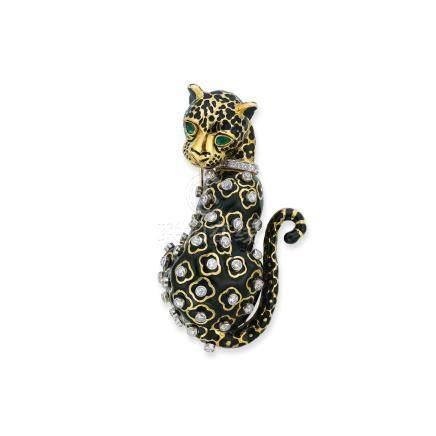 鑽石及祖母綠「Leopard」胸針David Webb設計