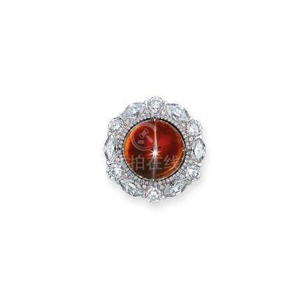 貓眼石及鑽石戒指