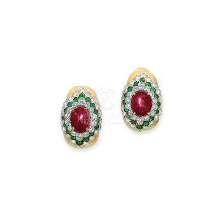 紅寶石、祖母綠及鑽石耳環David Webb設計