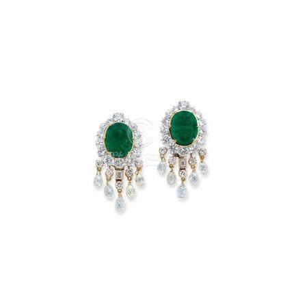 祖母綠及鑽石耳環