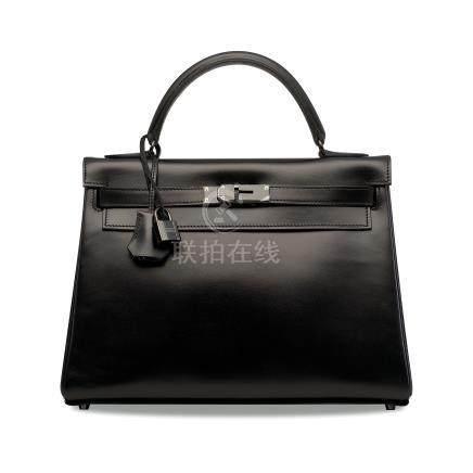 罕見限量版黑色CALF BOX小牛皮32公分SO BLACK凱莉包附黑色PVD配件