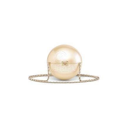 時裝表演系列虹彩白色合成樹脂珍珠包附淡金色配件