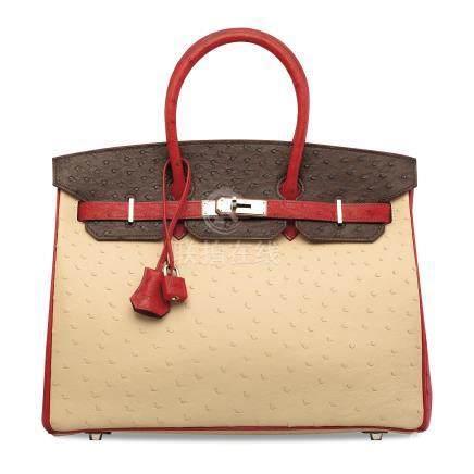 特別訂製羊皮紙色、深棕色及鮮紅色鴕鳥皮35公分柏金包附鈀金配件