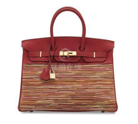 A LIMITED EDITION ROUGE VIF & VIBRATO TOGO LEATHER BIRKIN 35 WITH GOLD HARDWARE