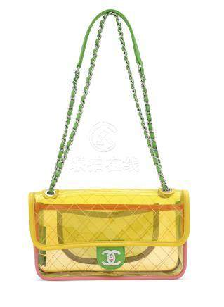 A MULTICOLOUR PVC & LEATHER COCO SPLASH SMALL FLAP BAG WITH SILVER HARDWARE