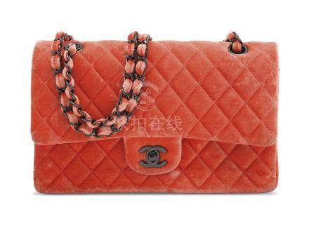 A CORAL VELVET MEDIUM QUILTED DOUBLE FLAP BAG WITH RUTHÉNIUM HARDWARE