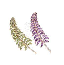 A Pair of Amethyst, Peridot and Diamond 'Fern' Brooches, by Michele della Valle (2)