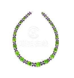 A Peridot, Amethyst and Diamond Necklace