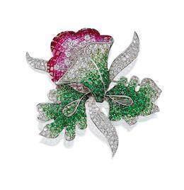 A Gem-Set and Diamond 'Floral' Brooch