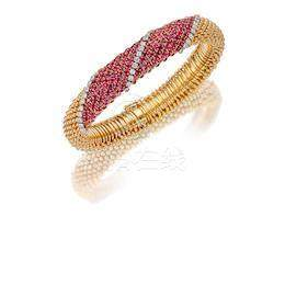 A Ruby and Diamond 'Couscous' Bracelet, by Van Cleef & Arpels,