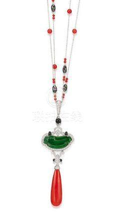 A Jadeite, Corallium Rubrum, Gem-set and Diamond Pendant Necklace, by Claudia Ma
