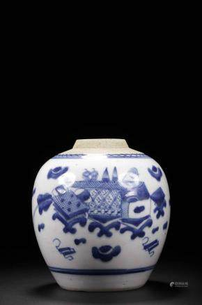 Qing mark Blue and white bogu Jar