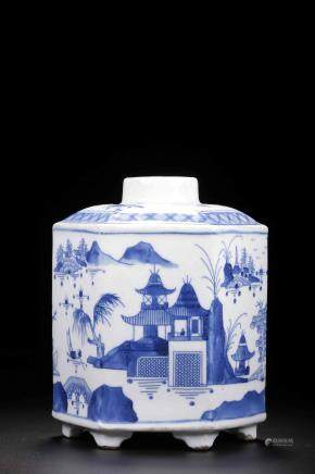 Qing mark blue and white double circle hexagonal jar