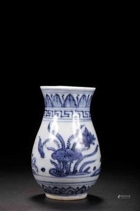 Ming mark Blue and White Flower Small Bottle