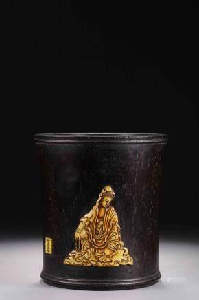 Republic of China lobular rosewood embedded Guanyin pen holder Cracked bottom