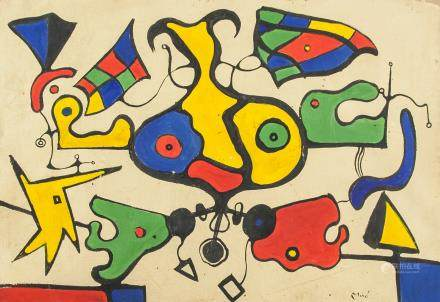 Joan Miro Spanish Surrealist Oil on Canvas