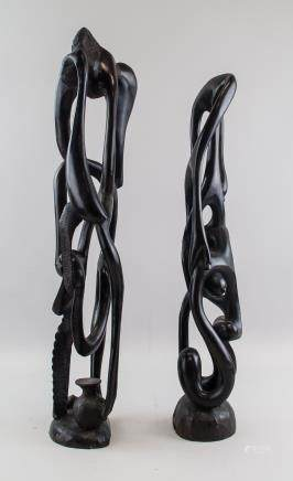 Pair of African Ebony Fertility Sculptures
