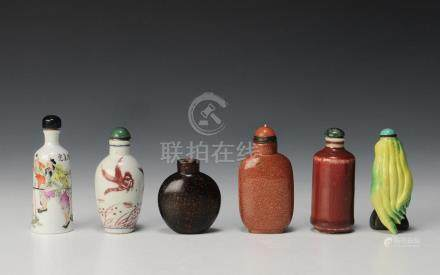 GROUP OF 6 SNUFF BOTTLES, 19TH-EARLY 20TH CENTURY