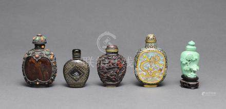 GROUP OF 5 SNUFF BOTTLES, 19TH-EARLY 20TH CENTURY
