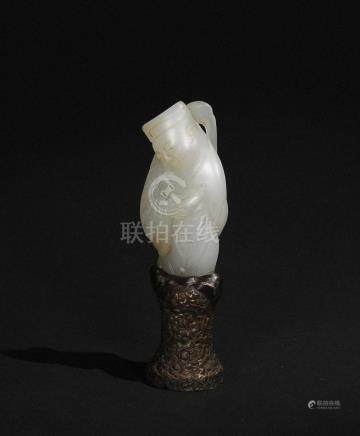 CHINESE WHITE JADE CARVED FINIAL, 18TH CENTURY
