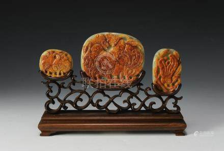 (3) CHINESE CARVED JADE RUYI PANELS IN STAND