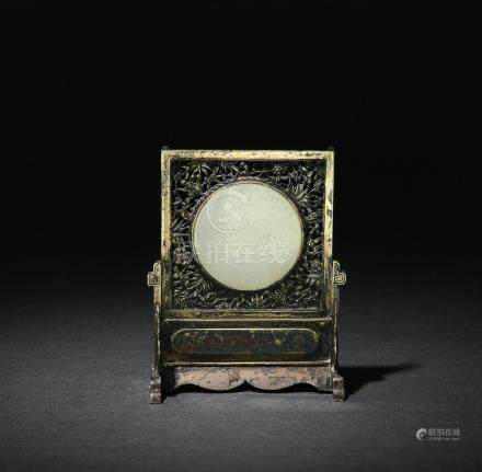 CHINSEE SILVER TABLE SCREEN W/ JADE DISC, 19TH CENTURY