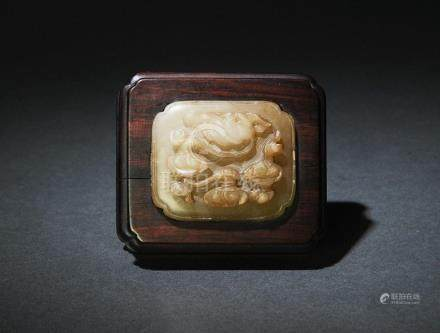 OLD WOOD PAPERWEIGHT W/ 17-18TH CENTURY JADE