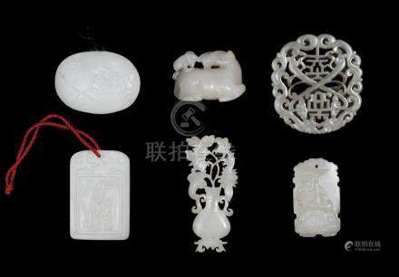 GROUP OF 6 CHINESE WHITE JADES, 18-19TH CENTURY