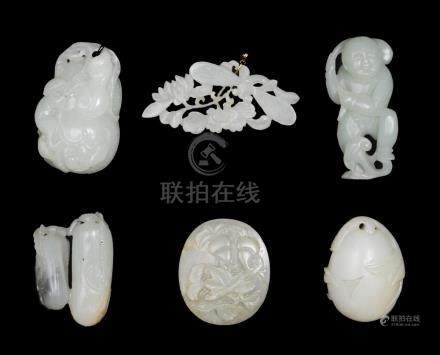 GROUP OF 6 CHINESE JADES, 18TH-19TH CENTURY