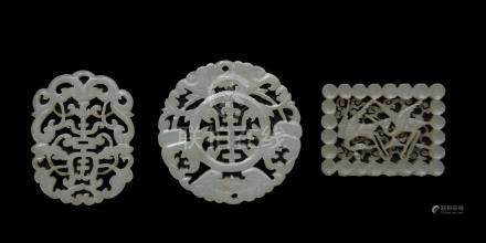 (3) CHINESE CARVED JADE PLAQUES, 18-19TH CENTURY