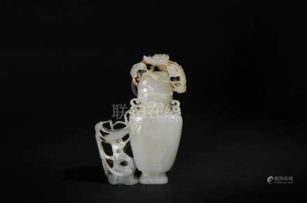 CHINESE JADE VASE CARVED W/ FLOWERS, 19TH CENTURY