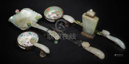 (6) CHINESE ITEMS WITH JADE, 18-19TH CENTURY