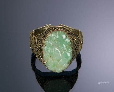 CHINESE SILVER BANGLE W/ JADEITE PLAQUE, 20TH CENTURY