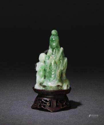 JADEITE CARVED GUANYIN W/ WOOD STAND, 19TH CENTURY
