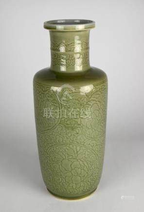 CARVED CELADON ROULEAU VASE, KANGXI PERIOD