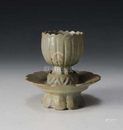 2-PIECE CHINESE GLAZED CUP & FOOTED STAND, SONG