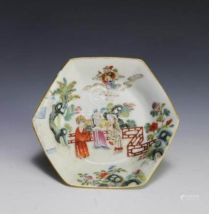 CHINESE FAMILLE ROSE HEXAGONAL DISH, DAOGUANG
