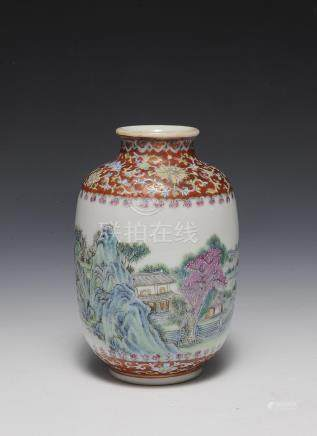 CHINESE FAMILLE ROSE VASE, REPUBLIC PERIOD