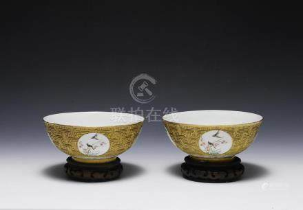 PAIR OF GOLD-TONED PORCELAIN BOWLS,19TH. CENTURY
