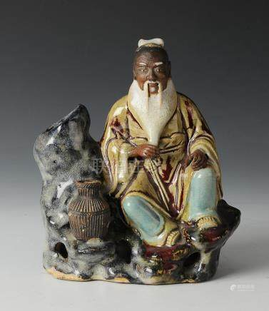 CHINESE SHIWAN FISHERMAN STATUE, 19TH CENTURY
