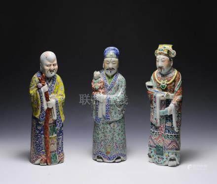 FU, LU & SHOU (SANXING) PORCELAIN FIGURES, 19TH CENTURY