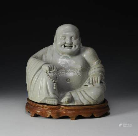 PORCELAIN SEATED BUDAI, REPUBLIC PERIOD