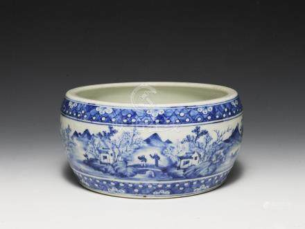 CHINESE BLUE & WHITE DRUM WASHER, 19TH CENTURY