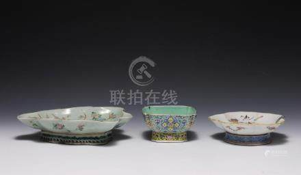 (3) PORCELAIN STEM DISHES, 19TH CENTURY