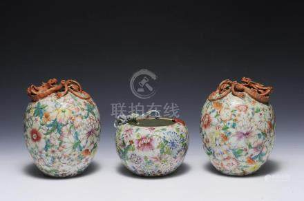 THREE REPUBLIC VASES WITH DRAGONS & BATS, REPUBLIC