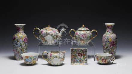 GROUP OF 8 MILLEFLORE PORCELAINS, REPUBLIC