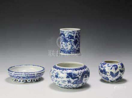 (4) BLUE & WHITE CHINESE PORCELAINS, REPUBLIC