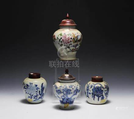 (4) CHINESE COVERED JARS 18TH-19TH CENTURY