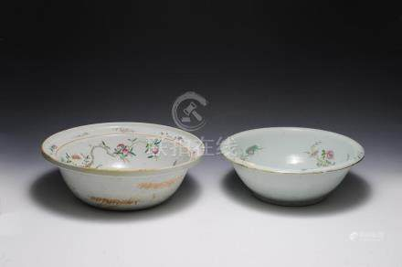 (2) 19TH CENTURY CHINESE WASH BASINS