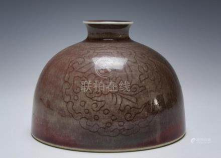CHINESE PEACH BLOOM BEEHIVE WATER POT, 19TH CENTURY